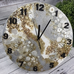 Tick Tock - White Gold Silver Sparkles Resin Button clock - silent motion