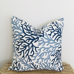 Coastal style cushion cover. Blue coral on ivory cotton/linen.