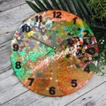 Tick Tock - Amber Sunset Buttons Clock -  Resin Buttons Clock - silent motion