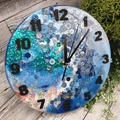 Tick Tock - Cloudy Blue Sparkle Buttons Resin clock - silent motion