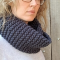 Handmade Australian merino wool loop scarf - Denim Blue