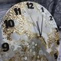 Tick Tock - White Gold Silver Sparkles Resin Button clock - silent motion
