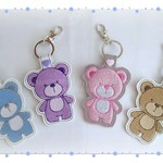 Teddy bear key fob, handmade, key chain, awesome gift, various colours available
