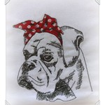 Boxer with bandana embroidered tea towel, awesome gift idea
