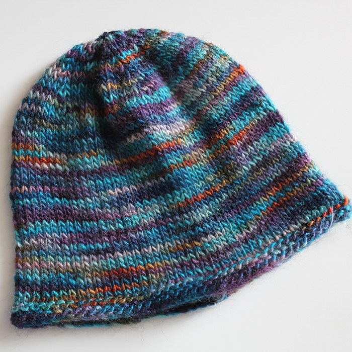 Turquoise Newborn Baby Hat Hand Knitted In Wool Yak Blend Krazy