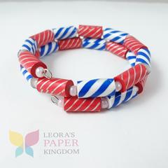 Classic Blue Red Paper Bead Bracelet