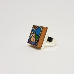 Headline Series : Simon Original Ink  on Paper on Tile Adjustable Ring