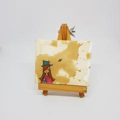 Headline Series : Aurora Original Tea Stain Art on Canvas