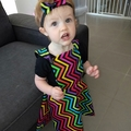 Kids Baby Reversible Pinafore Apron Dress Rainbow Chevron Zigzag Skeleton Party