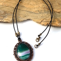 4 Choices: Genuine Banded Agate and Jasper Bronze Pendant on Leather Cord.