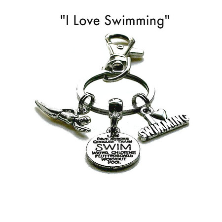 """""""I Love Swimming Keychain, Keyring gifts for Swimming Teachers"""
