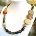 Natural Iridiscent LABRADORITE, JASPER and CARNELIAN Rustic-Chic Necklace.