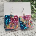 Super Sparkly Unicorn Glitter - Square Hook Dangle earrings