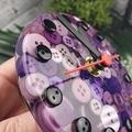 Tick Tock - Purple Button Desktop Clock -  Resin Buttons Clock - silent motion