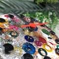 Desktop Clock - Golden Glitter Rainbow Resin Buttons - silent motion - Tick Tock
