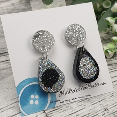 Teardrop Glitter Sparkles - Resin - Stud Dangle earrings