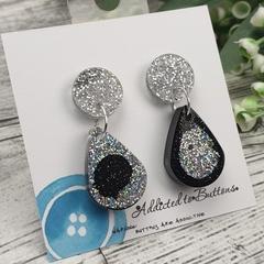 Teardrop Glitter Sparkles - Resin - Stud Dangle earrings