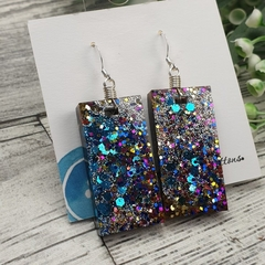 Sparkly Disco Glitter - Rectangle Hook Dangle earrings