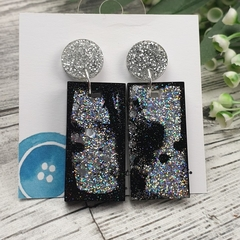 Rectangle Glitter Sparkles - Resin - Stud Dangle earrings
