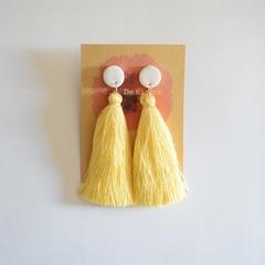 White and lemon yellow silk tassel earrings