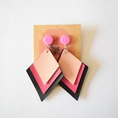 Pink faux leather geometric earrings