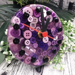 Tick Tock - Purple Button Desktop Clock -  Resin Buttons Clock - silent motion
