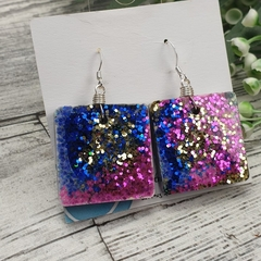 Sparkly Diva Blue Glitter - Large Square Hook Dangle earrings