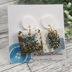 Square Glitter Sparkles - Resin - Stud Dangle earrings