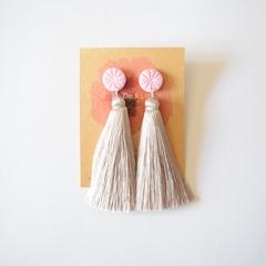 Pink and silver silk tassel earrings