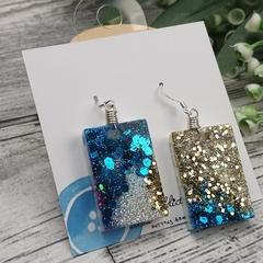 Sparkly Ocean Blue Glitter - Rectangle Hook Dangle earrings