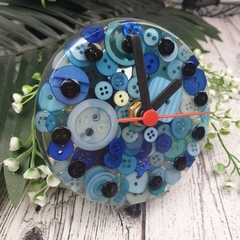 Tick Tock - Blue Button Desktop Clock -  Resin Buttons Clock - silent motion