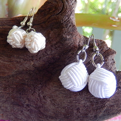 White or Off White Fabric Earrings