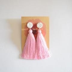 White and pink silk tassel earrings