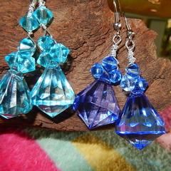 Blue, Dark blue or aqua blue acrylic faux crystal lightweight dangling earrings