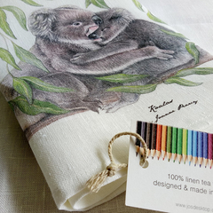 Koalas Tea Towel, Australian wildlife illustration, native animals