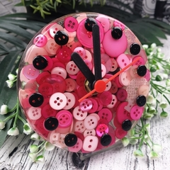 Tick Tock - PINK Button Desktop Clock -  Resin Buttons Clock - silent motion