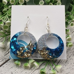 Retro Hoops - Glitter Sparkles - Resin - Stud Dangle earrings