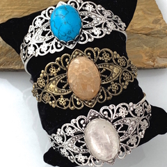 3 Choices: TURQUOISE, AGATE, CRYSTAL  Vintage Style Bracelet Cuffs.