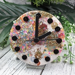Desktop Clock - Gold Neon Glitter Resin Buttons - silent motion - Tick Tock
