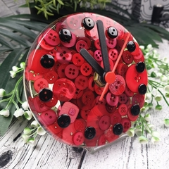 Tick Tock - Red Button Desktop Clock -  Resin Buttons Clock - silent motion