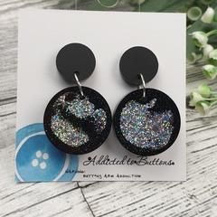 Circle Glitter Sparkles - Resin - Stud Dangle earrings