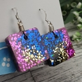 Sparkly Diva Blue Glitter - Small Square Hook Dangle earrings