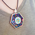 Lifeline Series : Original Ink on Paper on Wood with Glass Cabochon Necklace