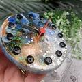 Desktop Clock - Galaxy Glitter Resin Buttons - silent motion - Tick Tock