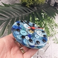 Tick Tock - Blue Button Desktop Clock -  Resin Buttons Clock - silent motion