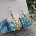 Sparkly Ocean Blue Glitter - Small Square Hook Dangle earrings