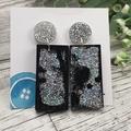 Rectangle Glitter Sparkles - Resin - Stud Dangle earrings
