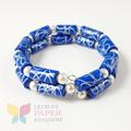 Classic Blue Paper Bead Bracelet
