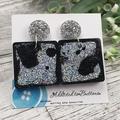 Square Glitter Sparkles - Resin - Stud Dangle earrings