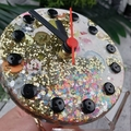 Desktop Clock - Gold Neon Glitter Resin Buttons - silent motion - Tick Tock